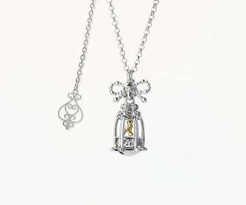 Pensiero | collana in argento rodio/dorato 925 con movimento interno