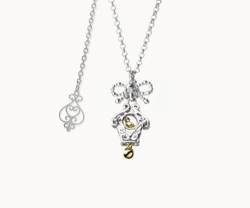 Sorpresa | collana in argento rodio/dorato 925 con movimento interno