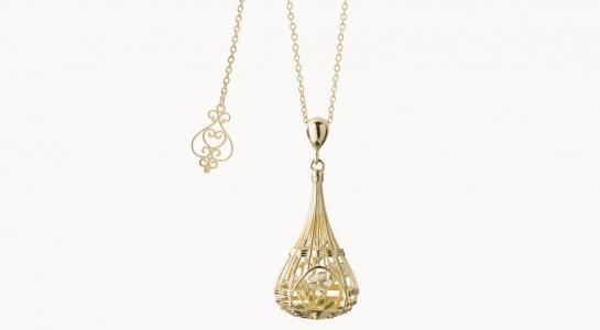 Vimini | collana in argento dorato 925 con bouquet di fiori interni smaltati