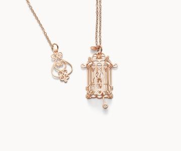 Gabbietta – Freedom | collana in argento dorato 925 oro rosa con diamante
