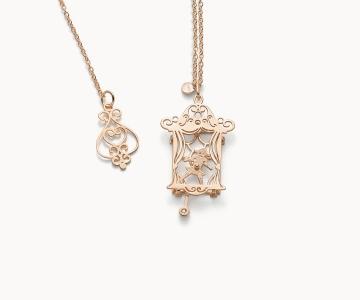 Teatro – Art | collana in argento dorato 925 oro rosa con diamante