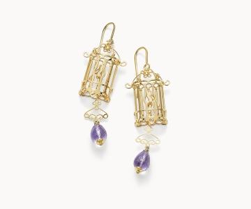 Gabbietta – Freedom | orecchini in argento dorato 925 con ametiste