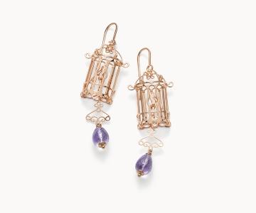 Gabbietta – Freedom | orecchini in argento dorato 925 oro rosa con ametiste