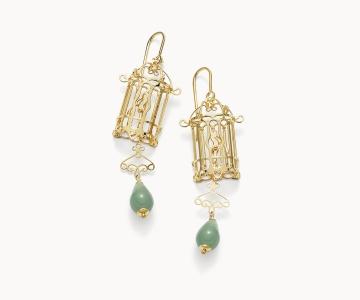 Gabbietta – Freedom | orecchini in argento dorato 925 con avventurine