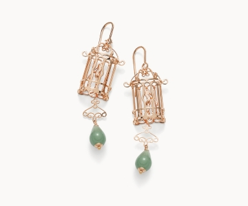 Gabbietta – Freedom | orecchini in argento dorato oro rosa 925 con avventurine