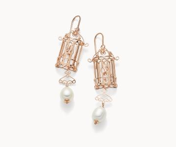 Gabbietta – Freedom | orecchini in argento dorato 925 oro rosa con perle