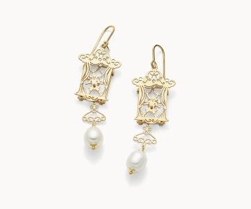 Teatro – Art | orecchini in argento dorato 925 con perle
