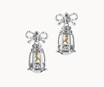 Pensiero | orecchini in argento rodio/dorato 925 con movimento interno