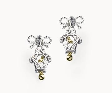 Sorpresa | orecchini in argento rodio/dorato 925 con movimento interno