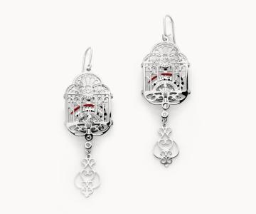 Treno dei desideri | orecchini in argento rodiato 925 con smalti