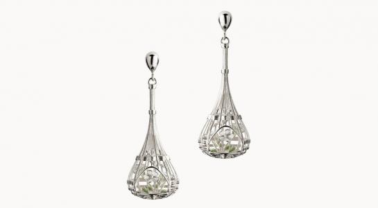 Vimini | orecchini in argento rodiato 925 con bouquet di fiori interni smaltati