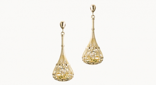 Vimini | orecchini in argento dorato 925 con bouquet di fiori interni smaltati