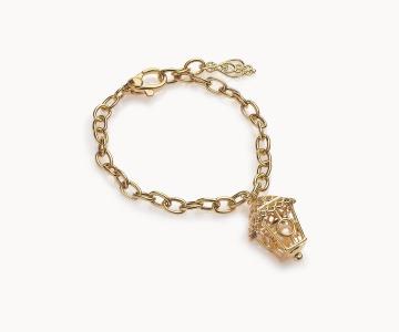 Lanterna cerchi | bracciale regolabile in argento dorato 925 con perla fresh water