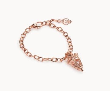 Lanterna esagono | bracciale regolabile in argento dorato 925 oro rosa con perla fresh water