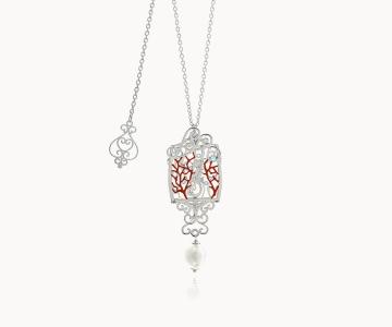 Cavalluccio marino – Fidelity | collana in argento rodiato 925 con perla e smalti