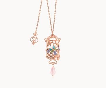 Farfalla – Armony | collana in argento dorato 925 oro rosa con quarzo rosa e smalti
