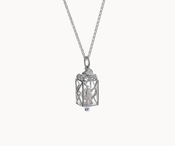 Lanterna cuori | girocollo in argento rodiato 925 con perla fresh water