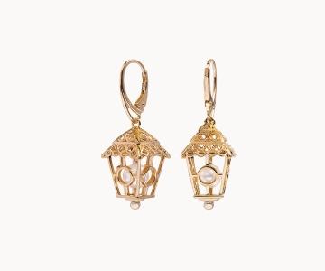 Lanterna cerchi | orecchini in argento dorato 925 con perle fresh water