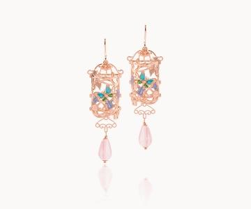Farfalla – Armony | orecchini in argento dorato 925 oro rosa con quarzi rosa e smalti